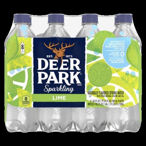 Deer Park Zesty Lime Sparkling Natural Spring Water 8 Count Perspective: front