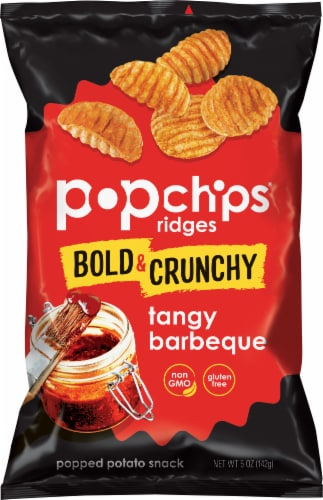 popchips Ridges Tangy Barbeque Popped Potato Snack Perspective: front