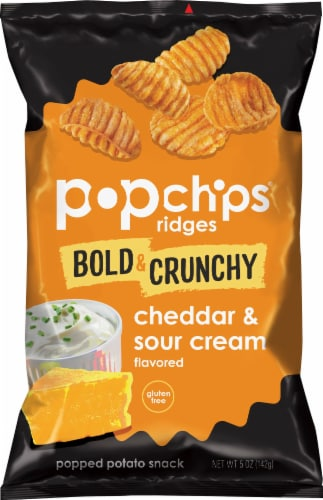 popchips Ridges Bold & Crunchy Cheddar & Sour Cream Popped Potato Snack Perspective: front