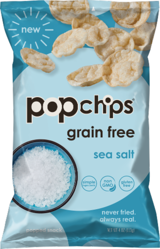 popchips Grain Free Sea Salt Popped Cassava Snack Perspective: front