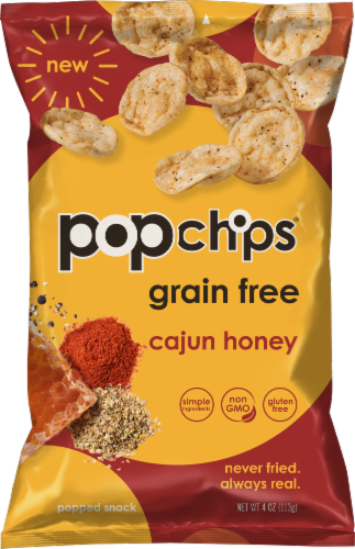 popchips Grain Free Cajun Honey Popped Cassava Snack Perspective: front