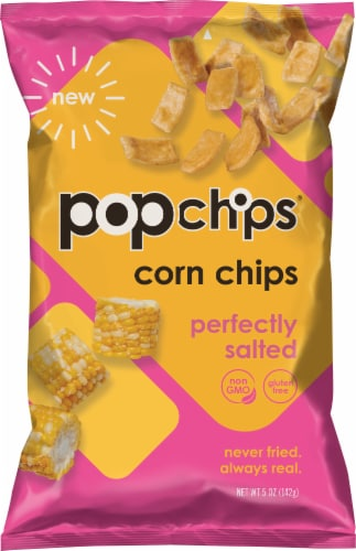 popchips Perfectly Salted Corn Chips Popped Snack Perspective: front