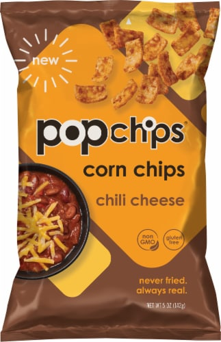 popchips Chili Cheese Popped Corn Chip Snacks Perspective: front