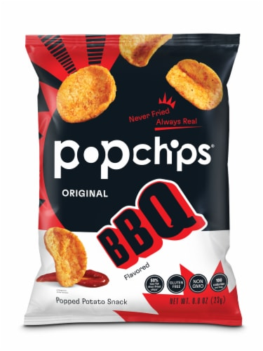 popchips Barbeque Potato Popped Chip Snacks Perspective: front