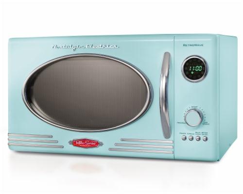 Nostalgia Retro 800-Watt Countertop Microwave Oven - Aqua Perspective: front