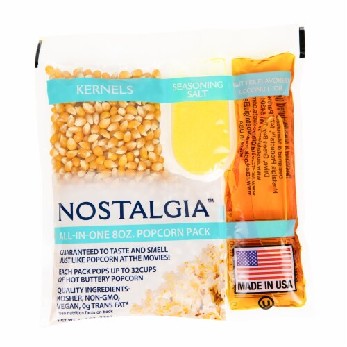 Nostalgia Popcorn Oil & Seasoning Salt All-In-One Packs Perspective: front