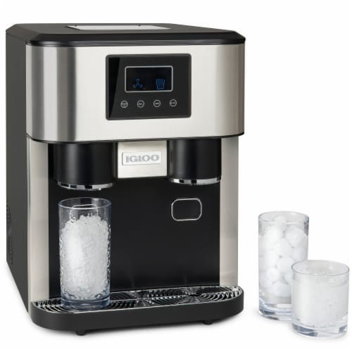 Igloo 33-Pound Dual Dispensing Ice Maker & Crusher - Black/Silver Perspective: front