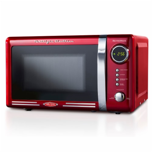 Nostalgia Electrics RetroWave Countertop Microwave Oven - Red/Chrome Perspective: front
