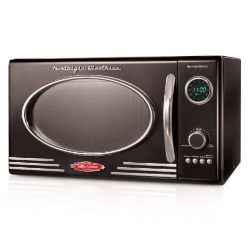 Nostalgia Countertop Microwave Oven - Black Perspective: front