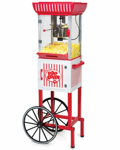 Nostalgia Popcorn Cart - Red / White Perspective: front