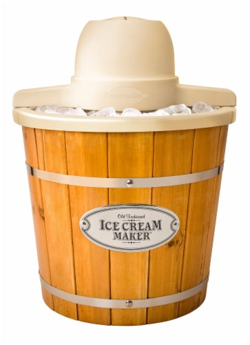 Nostalgia 4 Quart Electric Wood Bucket Ice Cream Maker Perspective: front