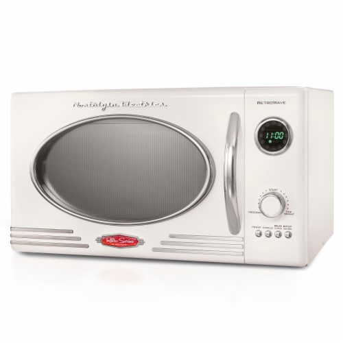 Nostalgia Retro Countertop Microwave Oven - Ivory Perspective: front