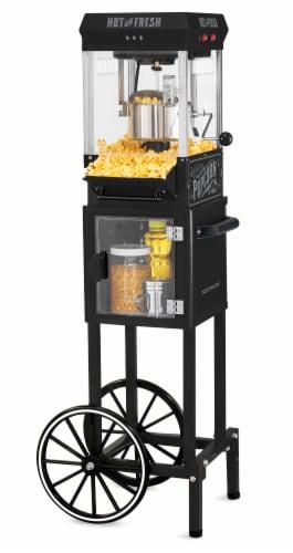 Nostalgia Vintage 2.5-Ounce Popcorn Cart - Black Perspective: front