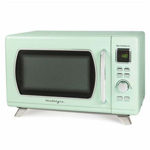 Nostalgia Mid-Century Retro Microwave - Seafoam Green Perspective: front
