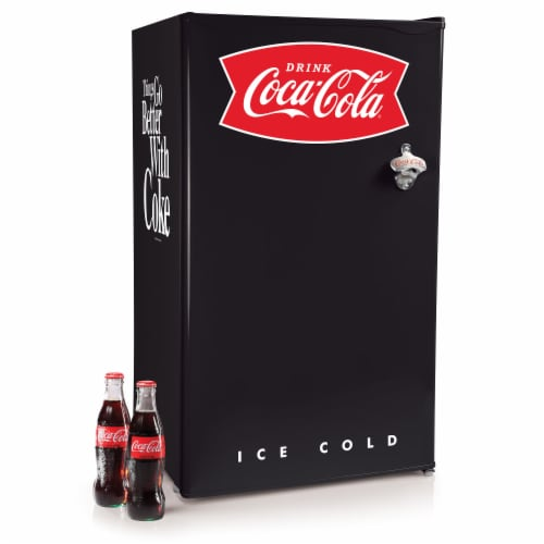 Coca-Cola Refrigerator with Freezer - Black Perspective: front