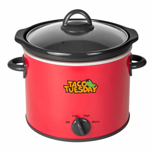 Taco Tuesday Fiesta Slow Cooker - Red/Black Perspective: front