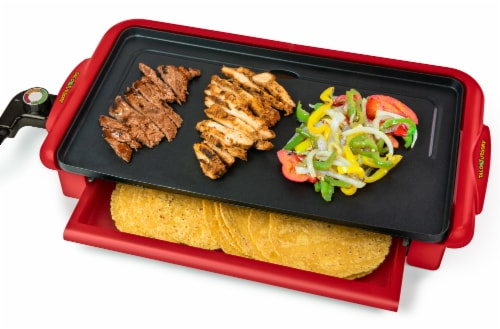 Nostalgia Taco Tuesday Nonstick Fiesta Griddle with Warmer Perspective: front