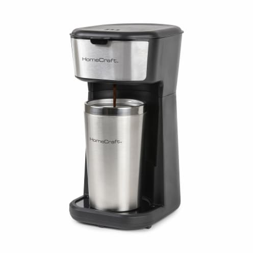 HomeCraft Single Serve Coffee Make with Travel Mug Perspective: front