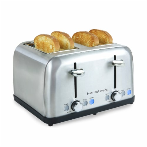 HomeCraft Stainless Steel 4-Slice Toaster - Silver Perspective: front