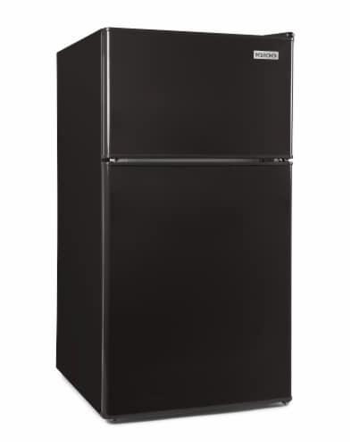 Igloo Double Door Refrigerator With Freezer - Black Perspective: front