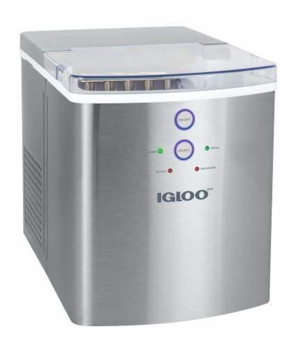 Igloo 33-Pound Stainless Steel Automatic Portable Countertop Ice Maker Machine - Silver Perspective: front