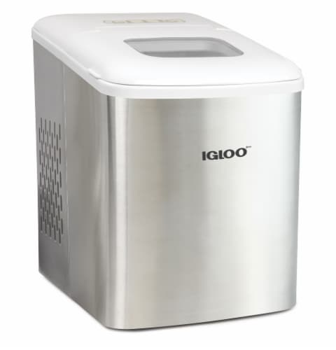 Igloo 26-Pound Stainless Steel Automatic Portable Countertop Ice Maker Machine - Silver/White Perspective: front