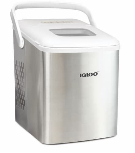 Igloo 26-Pound Stainless Steel Portable Countertop Ice Maker Machine With Handle - Silver/White Perspective: front