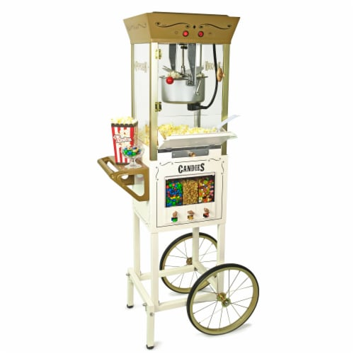 Nostalgia Candy & Snack Dispensing Popcorn Cart - Ivory Perspective: front