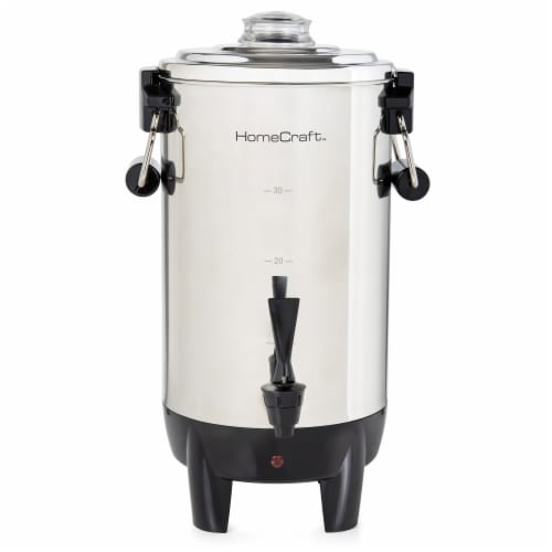 HomeCraft Quick-Brewing Automatic Stainless Steel Coffee Urn Perspective: front