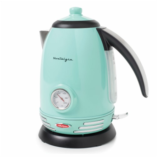Nostalgia Retro Stainless Steel Electric Water Kettle - Aqua Perspective: front