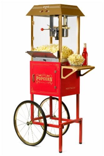 Nostalgia Red Vintage Commercial Popcorn Cart Perspective: front