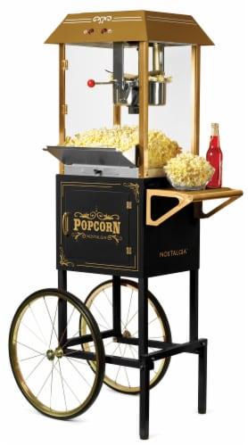 Nostalgia Vintage Professional Popcorn Cart - Black Perspective: front
