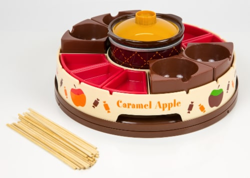 Nostalgia Lazy Susan Chocolate & Caramel Apple Tray and Fondue Pot Set Perspective: front