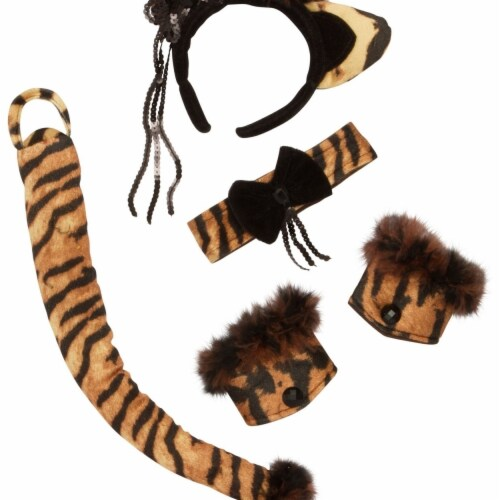 Rubies 402742 Tiger Kitty Accessory Kit, Yellow & Brown - One Size Perspective: front
