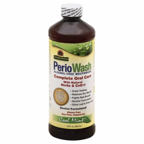 Nature's Answer Perio Wash Cool Mint Mouthwash Perspective: front