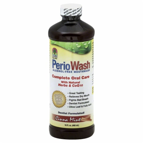 Nature's Answer Perio Wash Cinna Mint Mouthwash Perspective: front