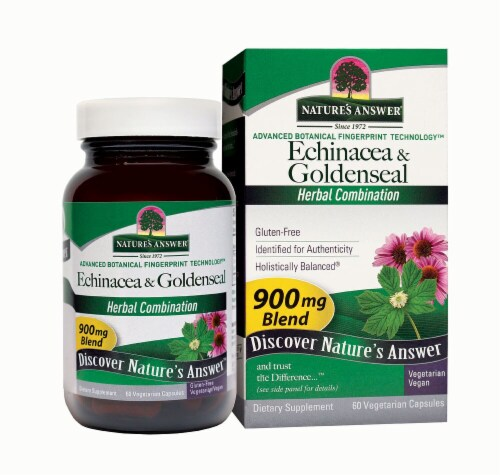 Nature's Answer Echinacea and Goldenseal Vegetarian Caps 900mg Perspective: front