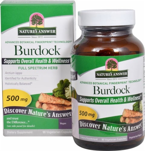Nature's Answer Burdock Root Vegetarian Caps 500mg Perspective: front