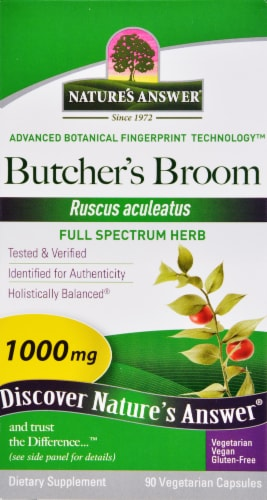 Natures Answer Butchers Broom Root Vegetarian Caps 1000mg Perspective: front