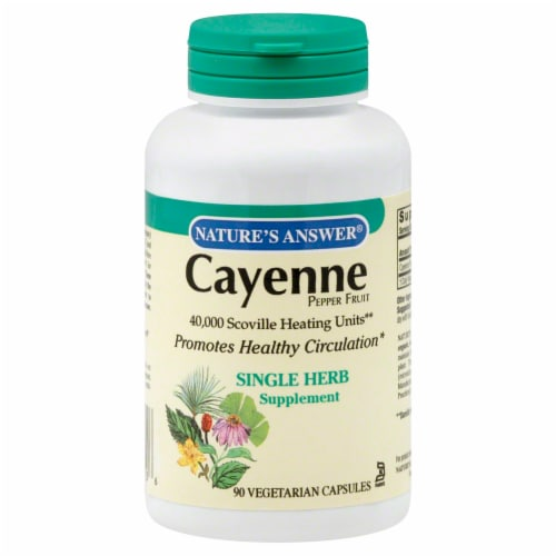 Nature's Answer Cayenne Pepper Fruit Vegetarian Capsules Perspective: front