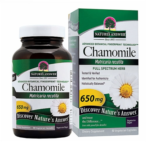 Nature's Answer Chamomile Flower Vegetarian Capsules 650mg Perspective: front