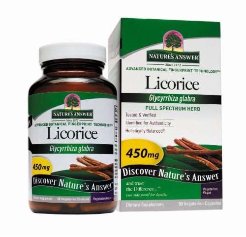 Nature's Answer Licorice Root Vegetarian Capsules 450 mg Perspective: front