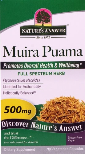 Nature's Answer Muira Puama Vegetarian Capsules 500mg Perspective: front