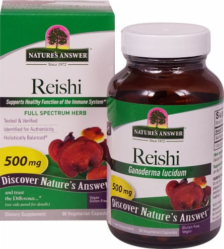 Nature's Answer Reishi Vegetarian Capsules 500mg Perspective: front
