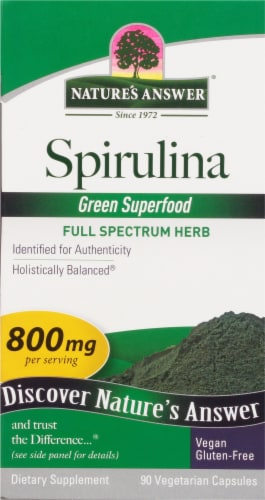 Natures Answer Spirulina Vegetarian Capsules 800mg Perspective: front