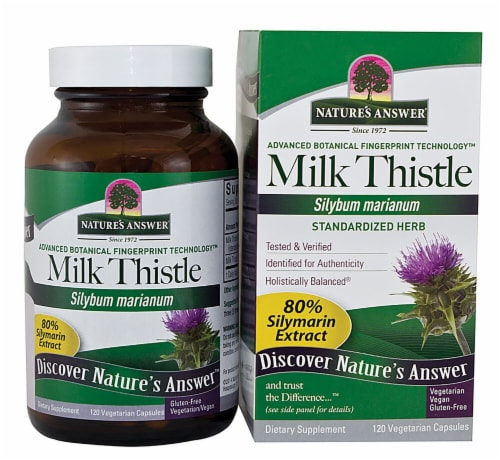 Nature's Answer Milk Thistle Seed Extract Vegetarian Capsules Perspective: front