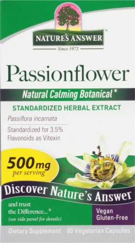 Natures Answer Passionflower Vegetarian Capsules 500mg Perspective: front