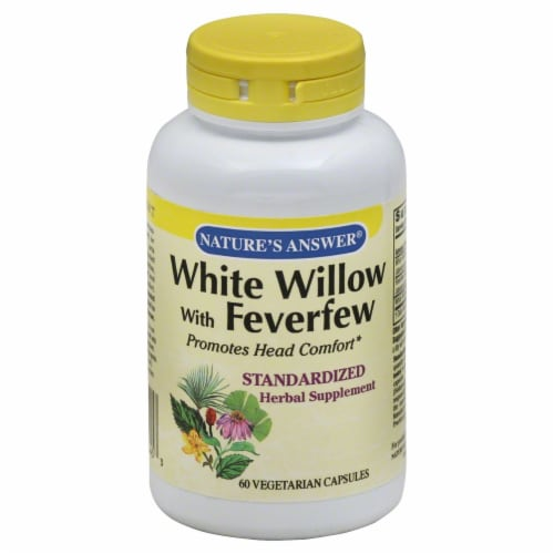 Nature's Answer White Willow With Feverfew Vegetarian Capsules Perspective: front