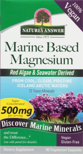 Natures Answer Plant Based Magnesium Vegetarian Capsules 500mg Perspective: front