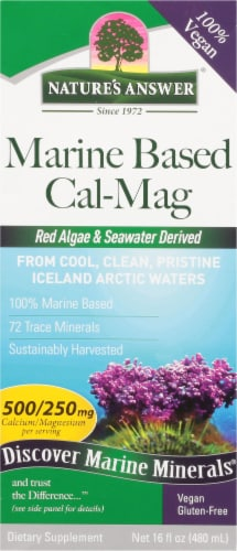Nature's Answer Plant Based Calcium 500 mg / Magnesium 250 mg Dietary Supplement Perspective: front